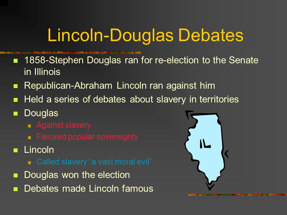 lincoln douglas debates slavery essay Richard dreyfuss portrayed stephen a douglas in a lincoln-douglas a historiographical essay douglas, and slavery: in the crucible of public debate.