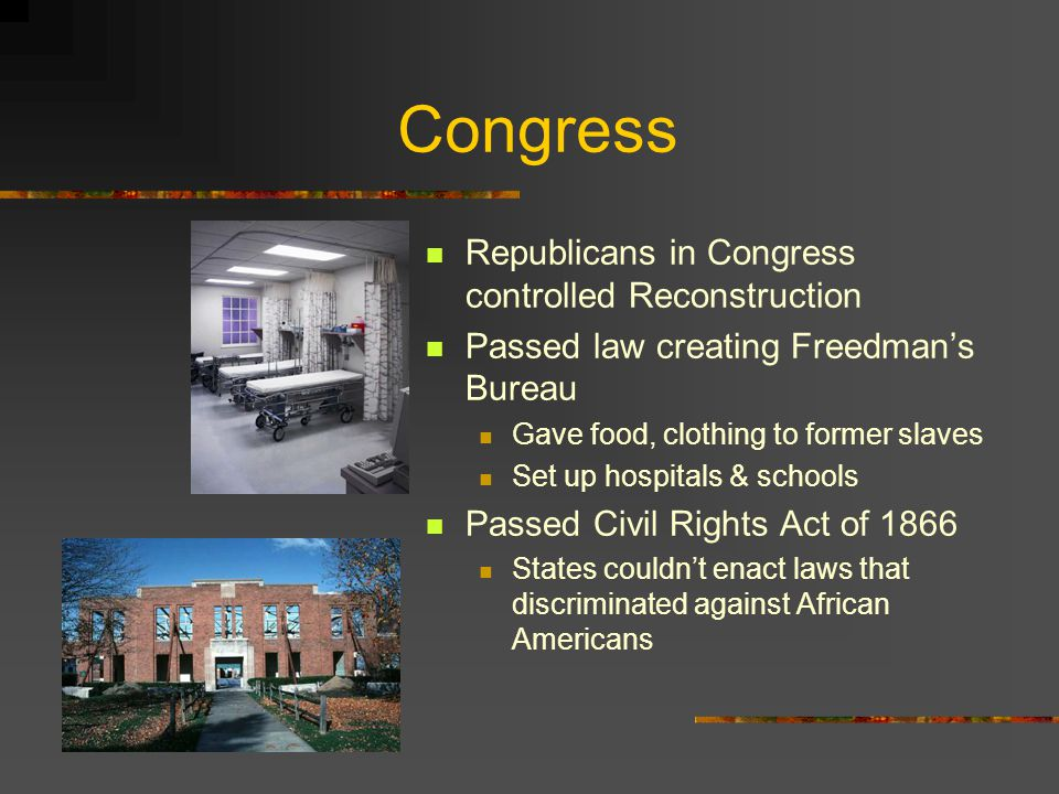 Congress Republicans in Congress controlled Reconstruction