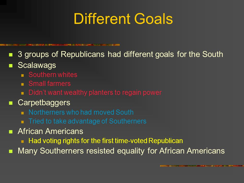 Different Goals 3 groups of Republicans had different goals for the South. Scalawags. Southern whites.
