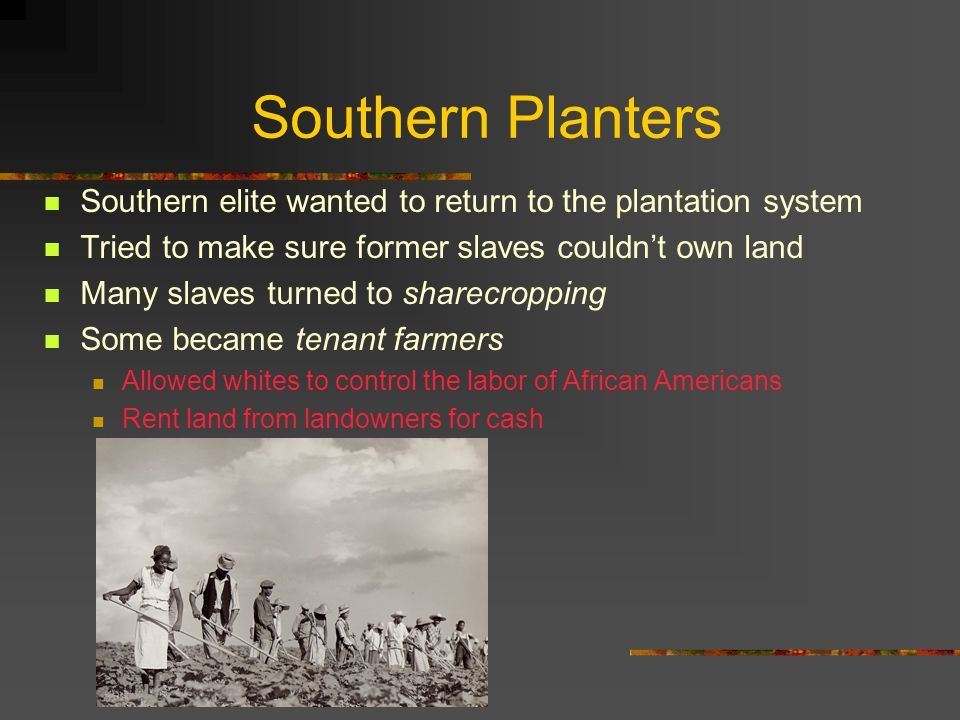 Southern Planters Southern elite wanted to return to the plantation system. Tried to make sure former slaves couldn't own land.