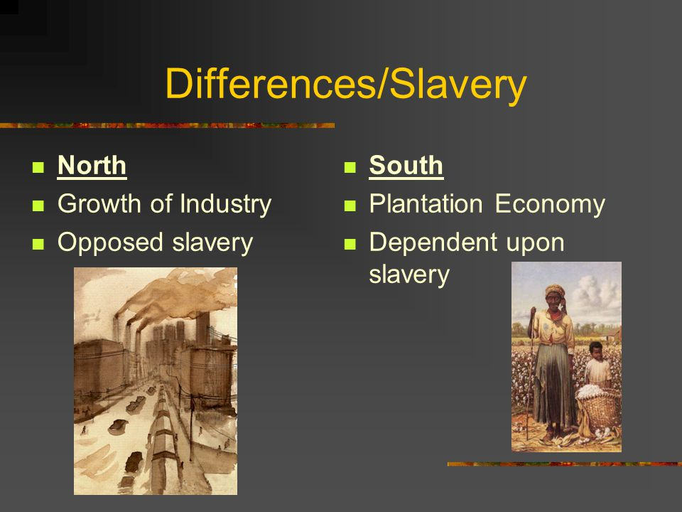 Differences/Slavery North Growth of Industry Opposed slavery South