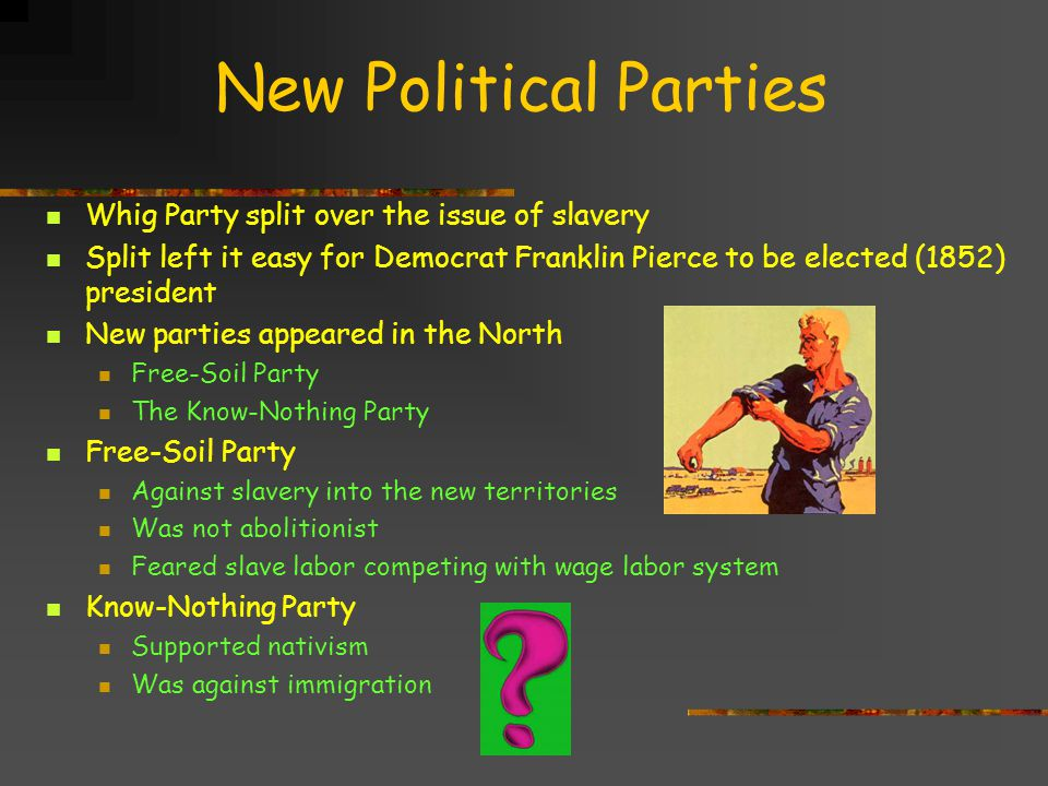 New Political Parties Whig Party split over the issue of slavery