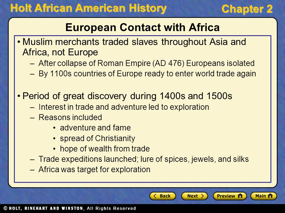 European Contact with Africa