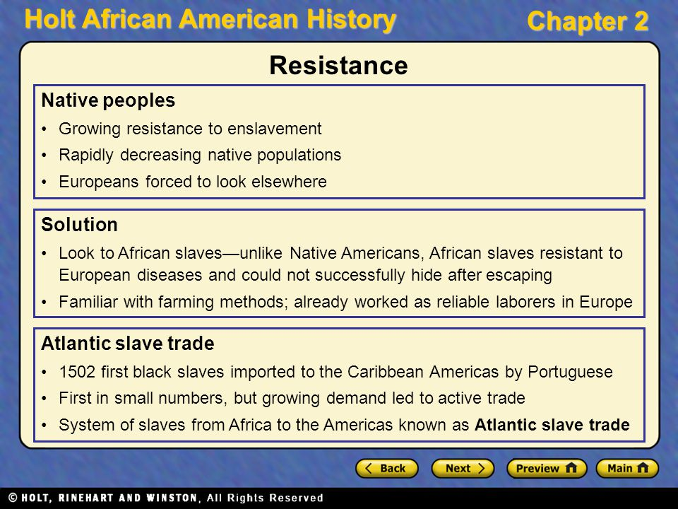 Resistance Native peoples Solution Atlantic slave trade