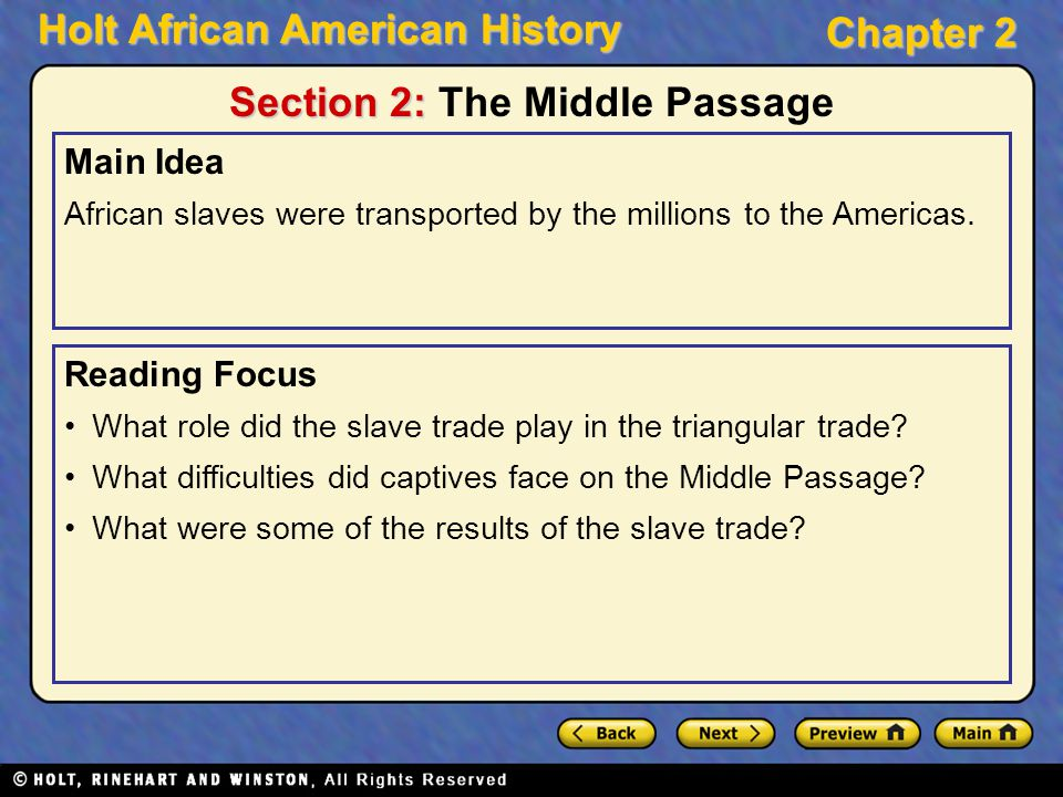 Section 2: The Middle Passage