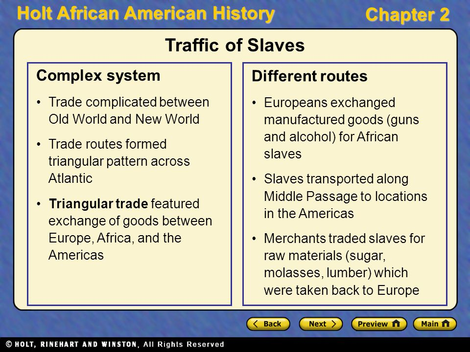 Traffic of Slaves Complex system Different routes
