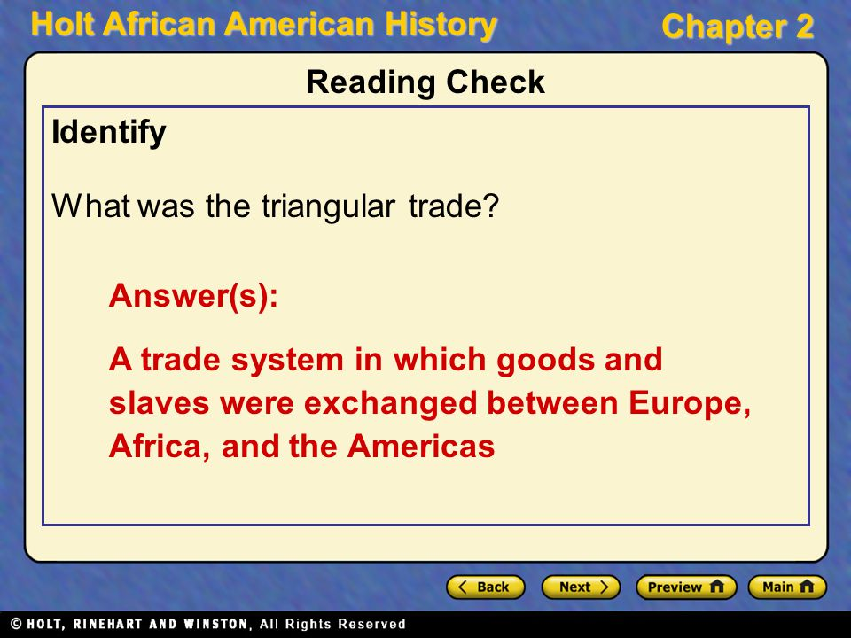 Where did the middle passage of the triangular trade system began