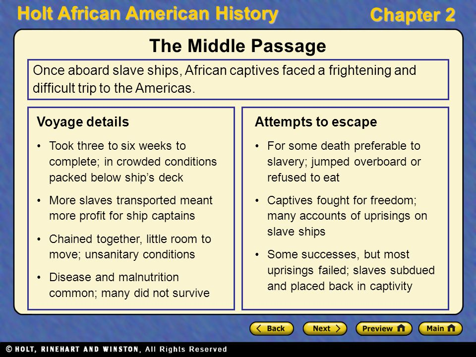 The Middle Passage Once aboard slave ships, African captives faced a frightening and difficult trip to the Americas.