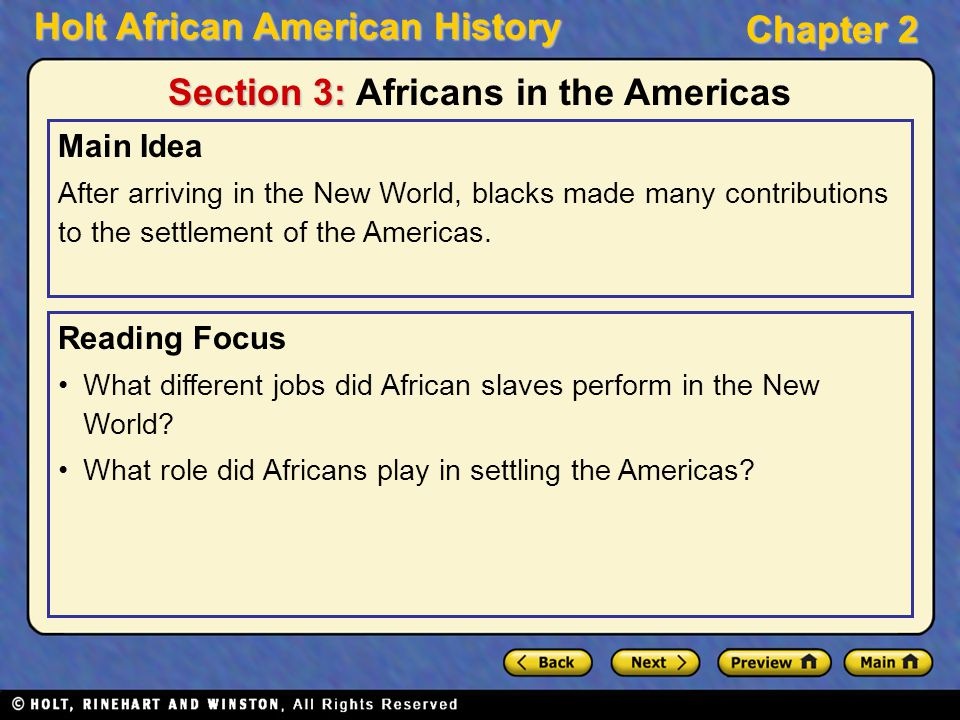 Section 3: Africans in the Americas