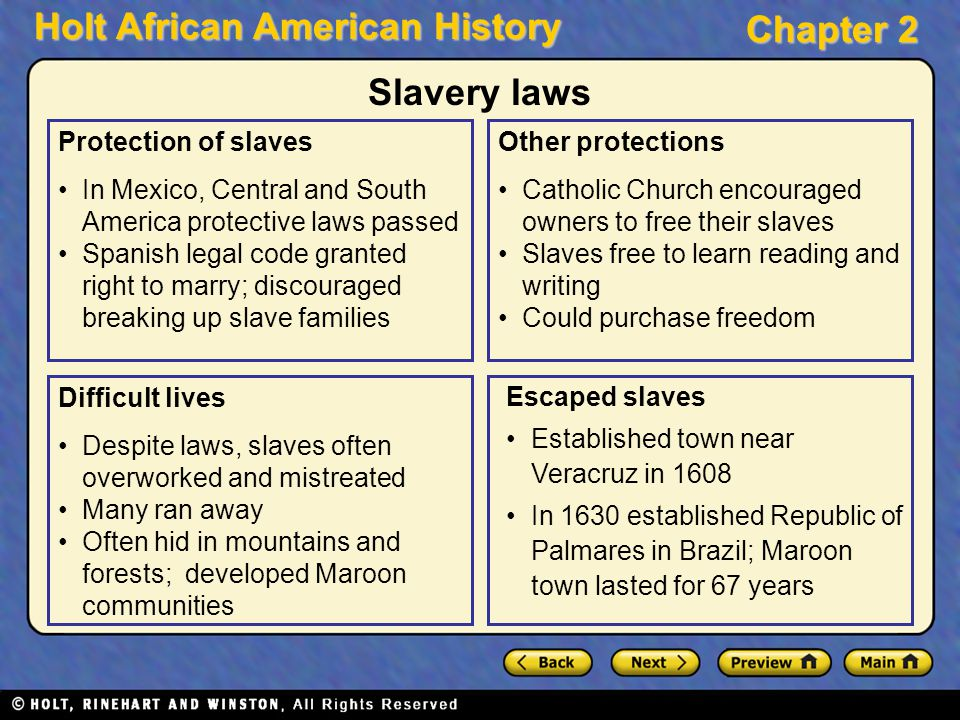 Slavery laws Protection of slaves
