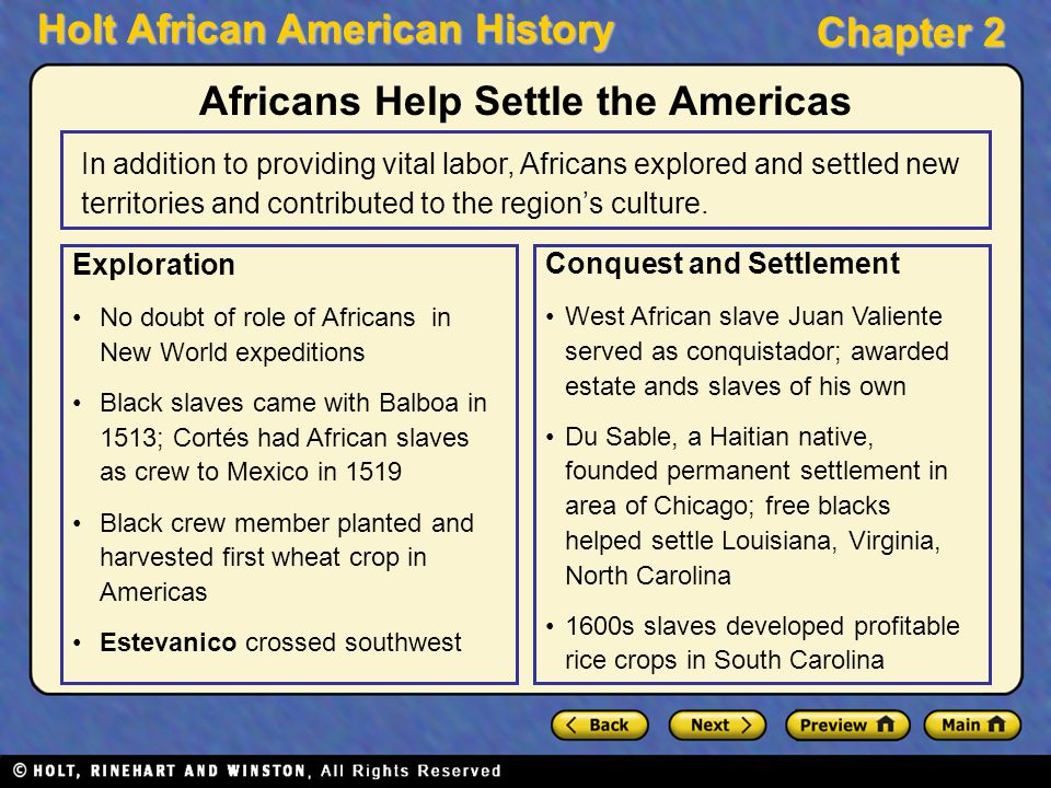 Africans Help Settle the Americas