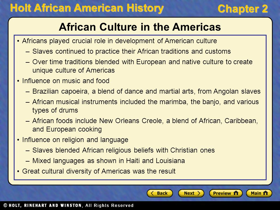 African Culture in the Americas
