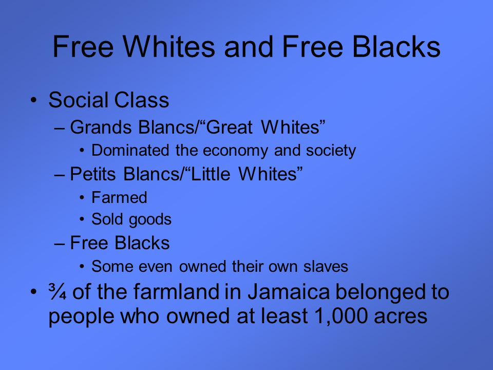 Free Whites and Free Blacks