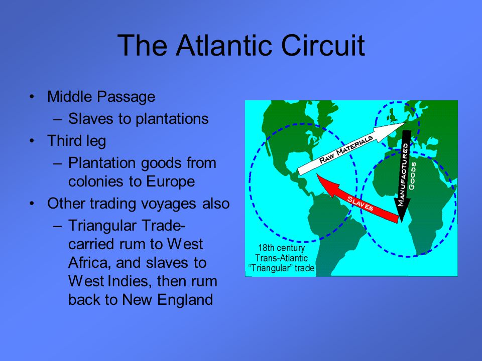 The Atlantic Circuit Middle Passage Slaves to plantations Third leg