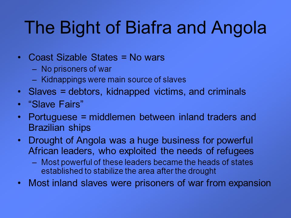 The Bight of Biafra and Angola