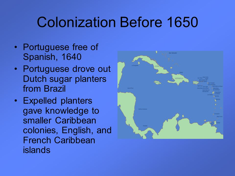 Colonization Before 1650 Portuguese free of Spanish, 1640