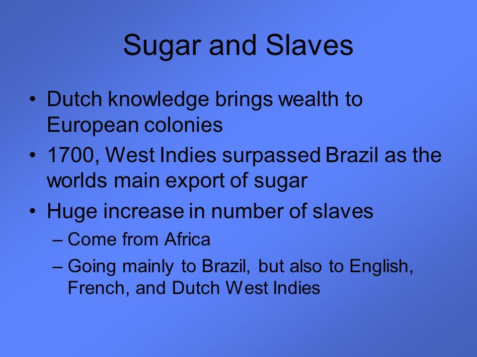 Sugar and Slaves Dutch knowledge brings wealth to European colonies