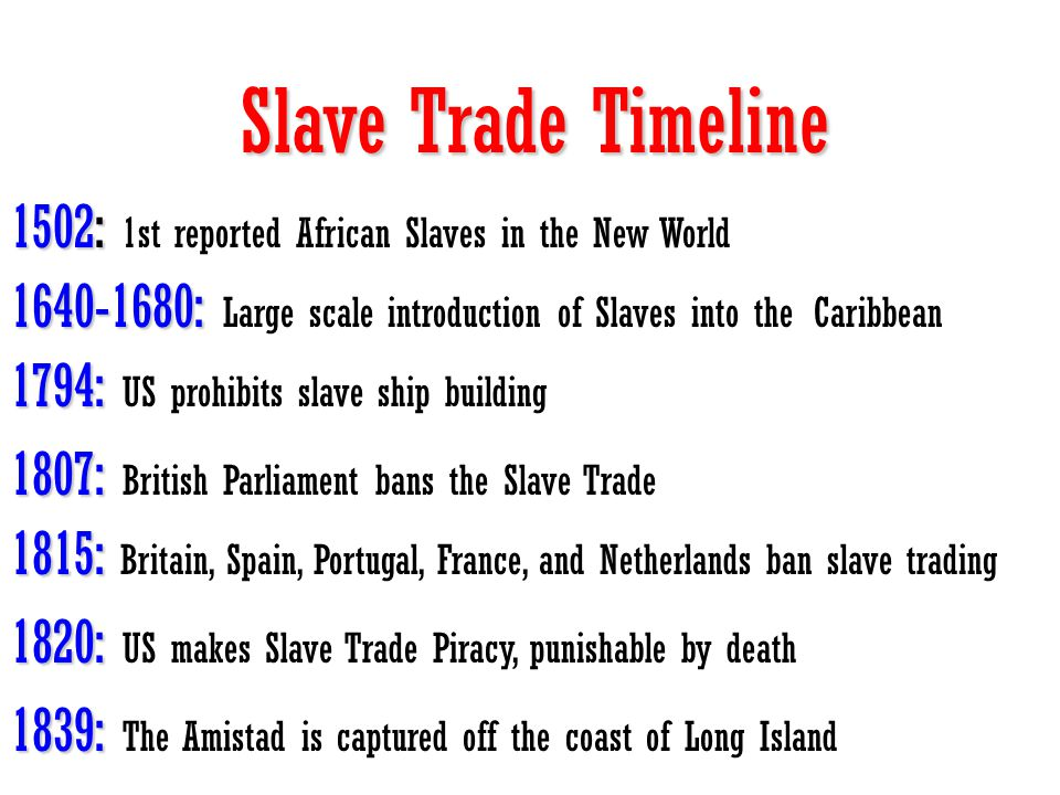 Slave Trade Timeline 1502: 1st reported African Slaves in the New World. 1640-1680: Large scale introduction of Slaves into the Caribbean.