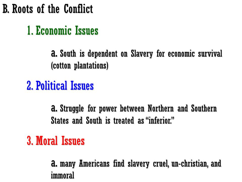 B. Roots of the Conflict 1. Economic Issues. a. South is dependent on Slavery for economic survival (cotton plantations)