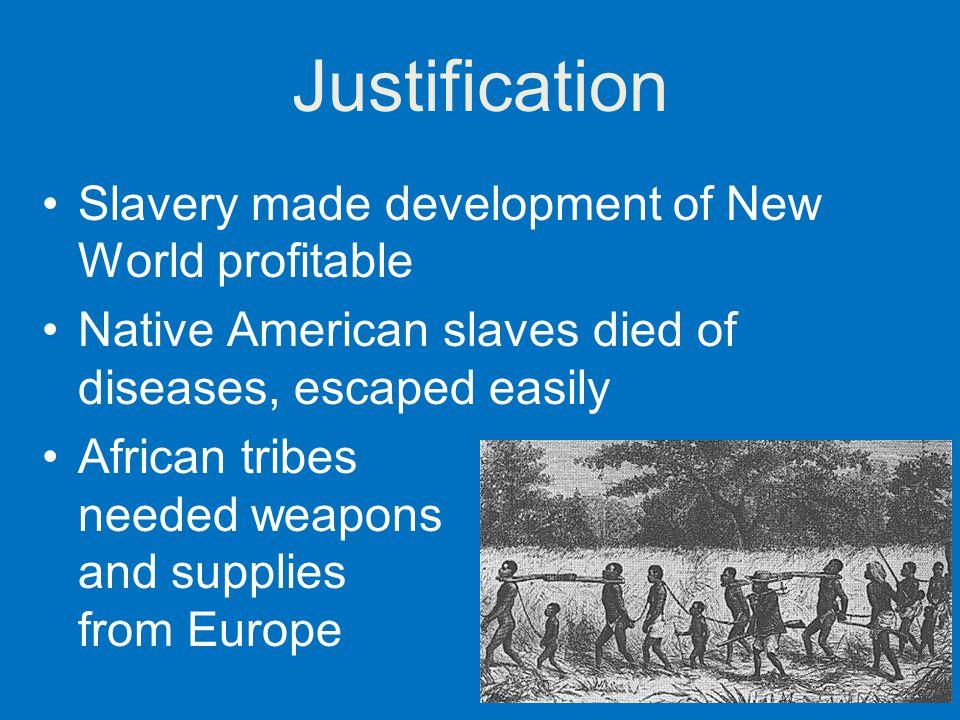 Justification Slavery made development of New World profitable
