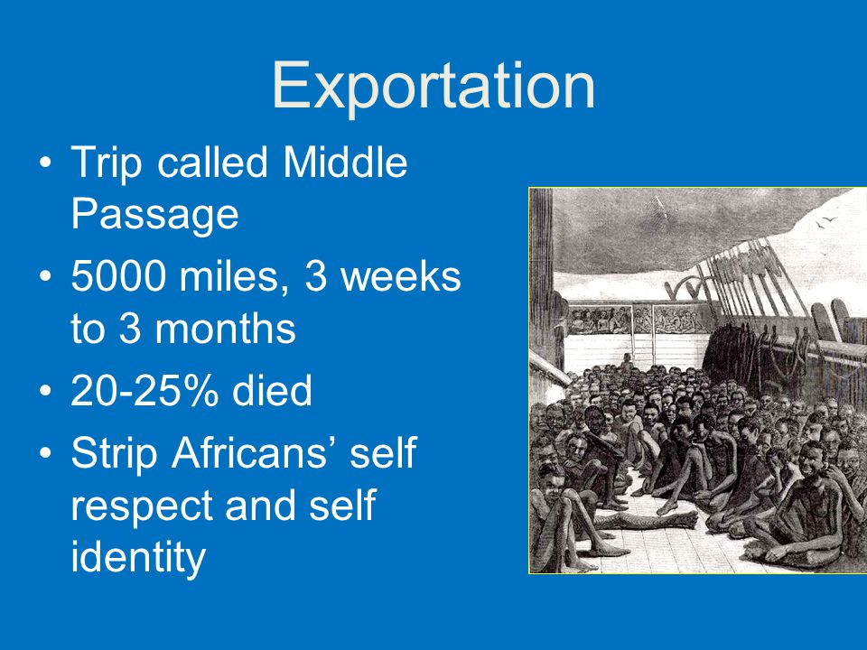 Exportation Trip called Middle Passage 5000 miles, 3 weeks to 3 months