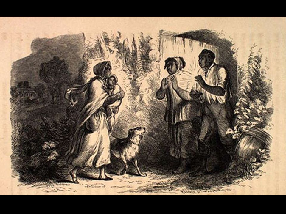 Eliza comes to tell Uncle Tom that she is sold, and that she is running away to save her child.