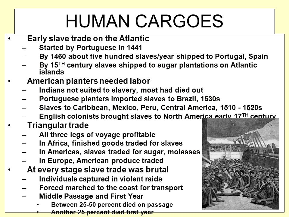 HUMAN CARGOES Early slave trade on the Atlantic