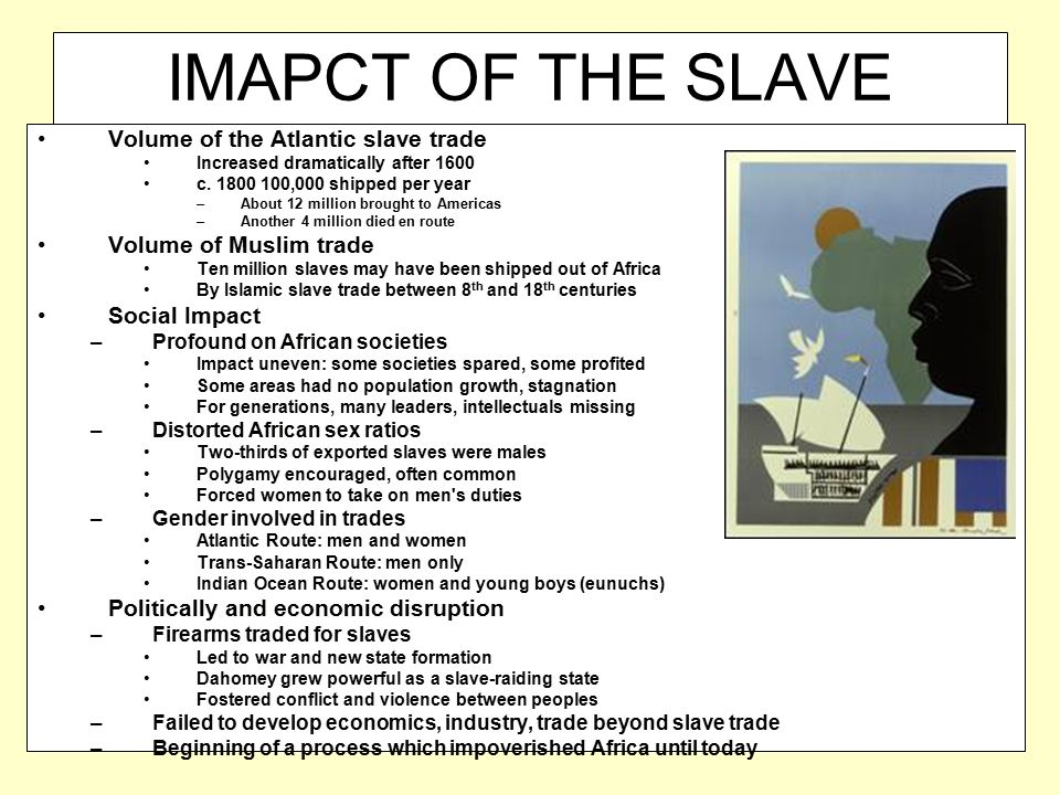 IMAPCT OF THE SLAVE TRADE ON AFRICA