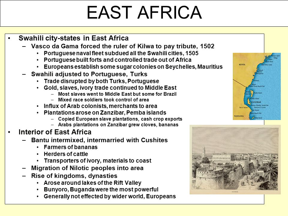 EAST AFRICA Swahili city-states in East Africa Interior of East Africa