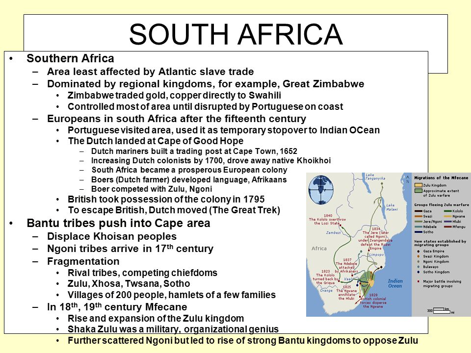 SOUTH AFRICA Southern Africa Bantu tribes push into Cape area