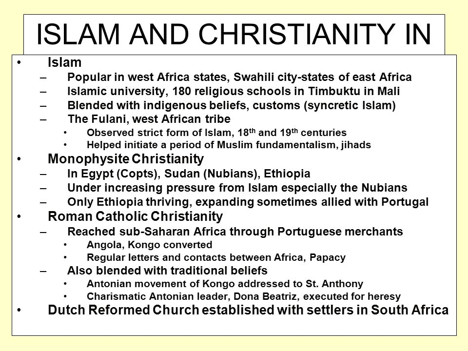 ISLAM AND CHRISTIANITY IN AFRICA