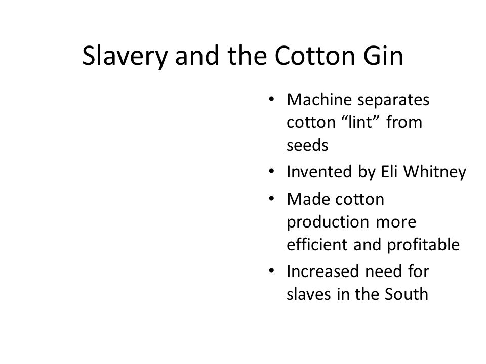 Slavery and the Cotton Gin