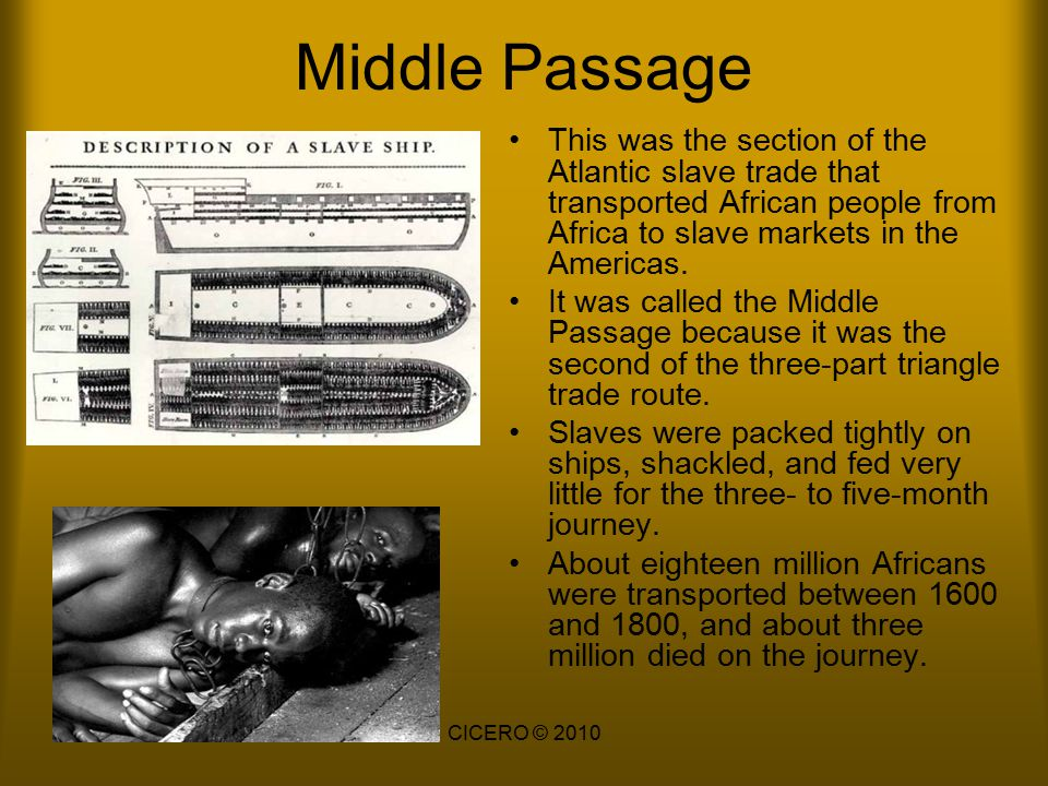 Middle Passage This was the section of the Atlantic slave trade that transported African people from Africa to slave markets in the Americas.