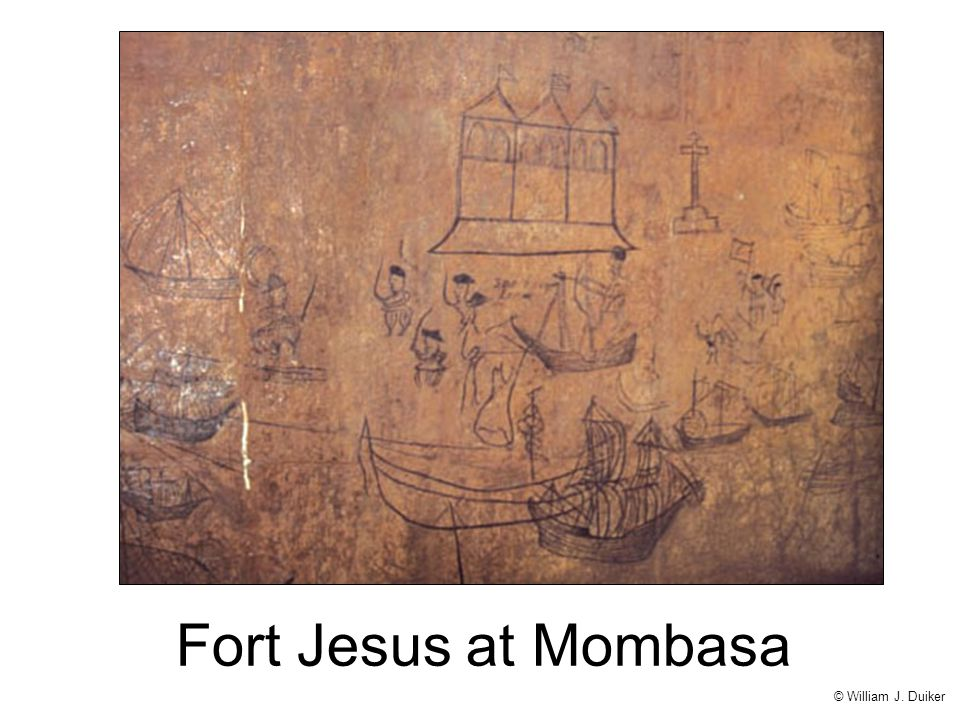 Mombasa, a port city on the eastern coast of Africa, was a jumping-off point for the Portuguese as they explored the lands bordering the Indian Ocean. Erected in the early sixteenth century atop a bluff overlooking the harbor, Fort Jesus remained an imposing symbol of European power until 1698, when the Portuguese were expelled by the Arabs. On the walls of the fort, Portuguese soldiers drew graffiti of caravels in the harbor (above) while the fort was under siege by Arab forces; perhaps they were dreaming of an escape to their faraway home.
