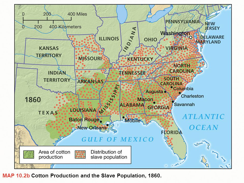 MAP 10.2b Cotton Production and the Slave Population, 1860.