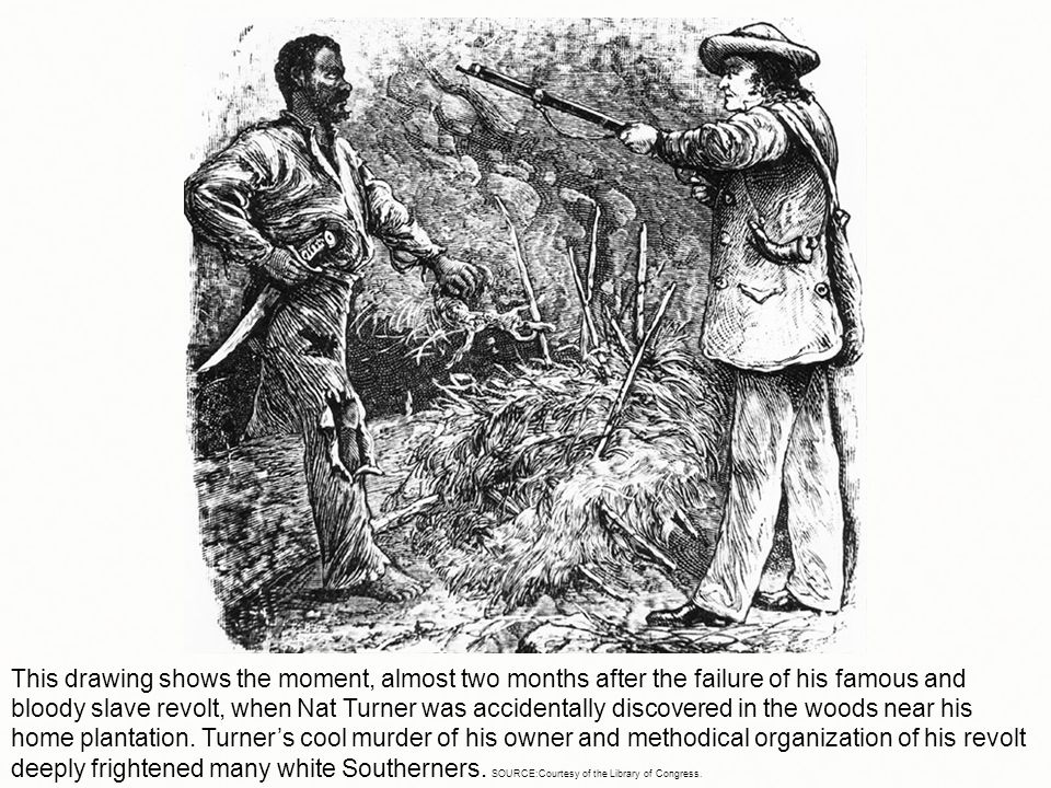 This drawing shows the moment, almost two months after the failure of his famous and bloody slave revolt, when Nat Turner was accidentally discovered in the woods near his home plantation.