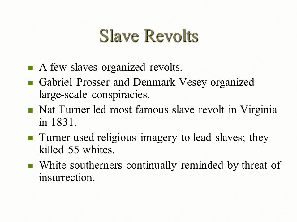Slave Revolts A few slaves organized revolts.