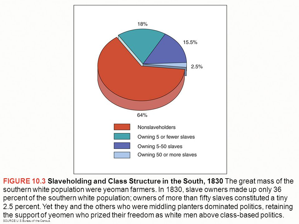 FIGURE 10.3 Slaveholding and Class Structure in the South, 1830 The great mass of the southern white population were yeoman farmers.