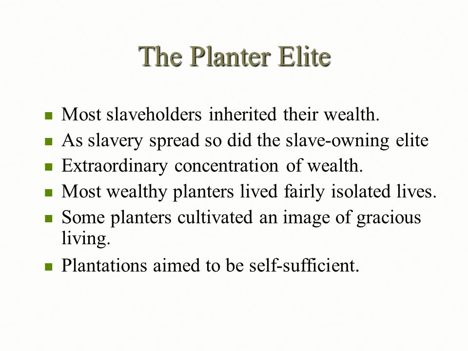 The Planter Elite Most slaveholders inherited their wealth.
