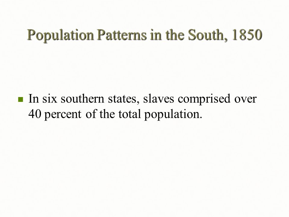 Population Patterns in the South, 1850