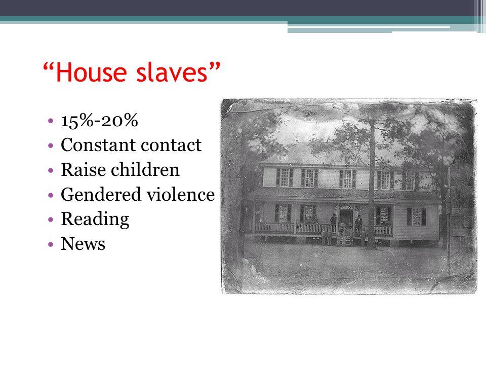 House slaves 15%-20% Constant contact Raise children