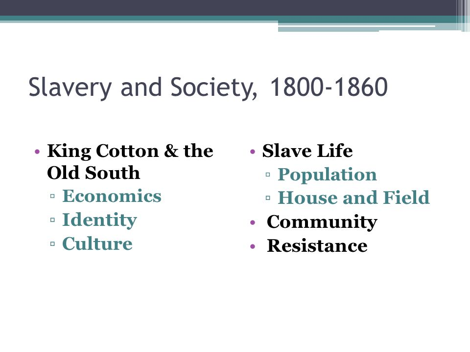Slavery and Society, 1800-1860 King Cotton & the Old South Identity