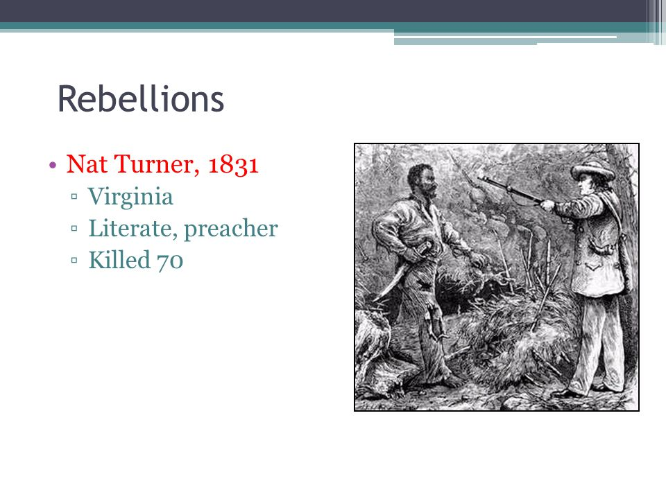 Rebellions Nat Turner, 1831 Virginia Literate, preacher Killed 70