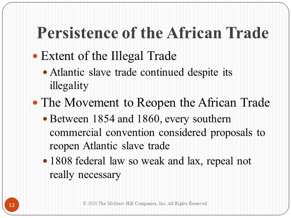 Persistence of the African Trade