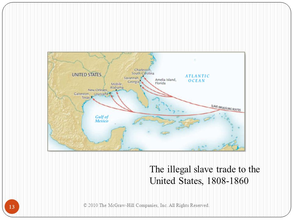 The illegal slave trade to the United States, 1808-1860