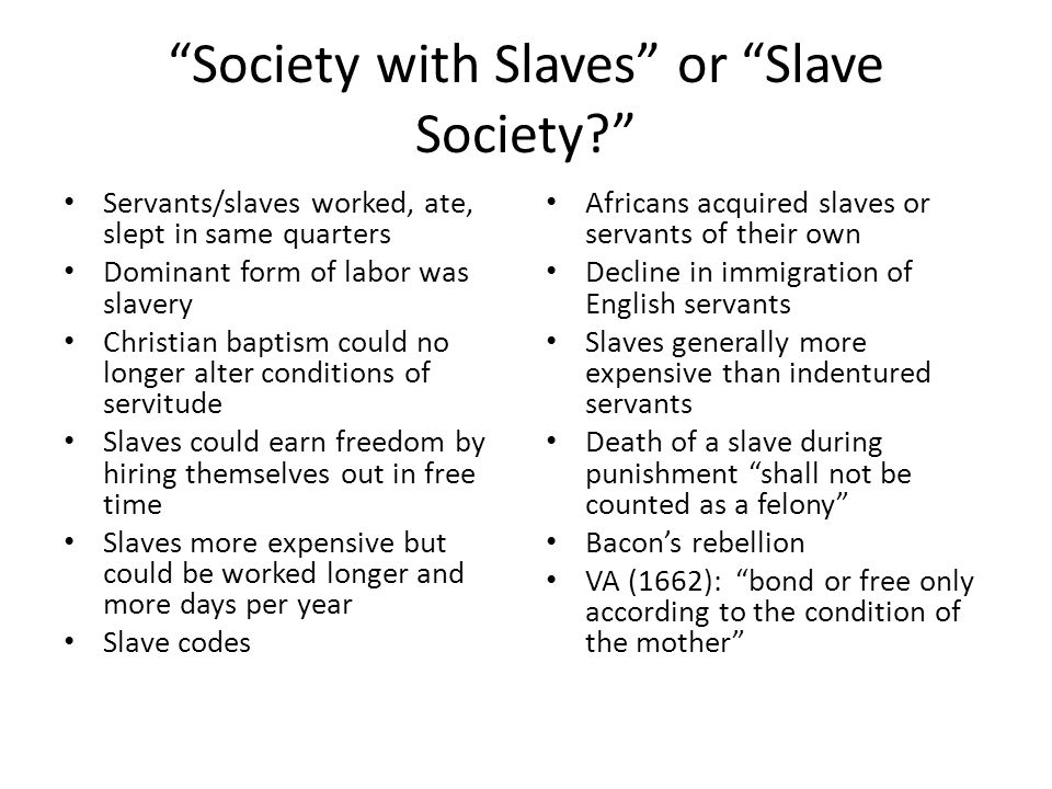 Society with Slaves or Slave Society