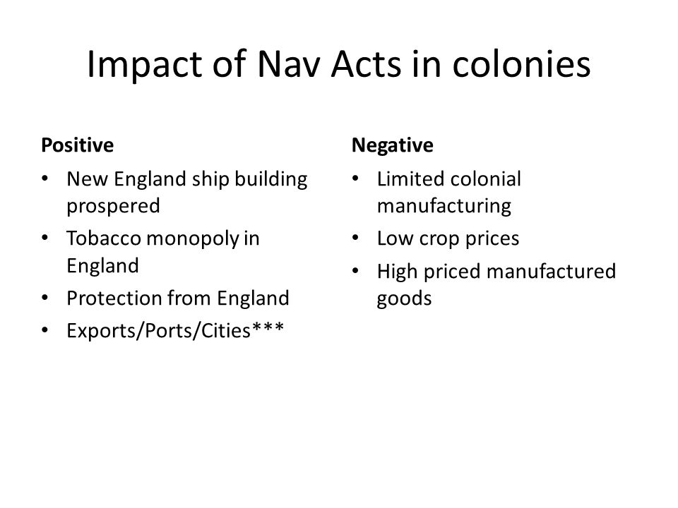 Impact of Nav Acts in colonies