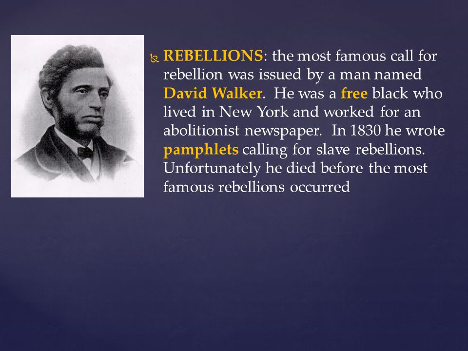 REBELLIONS: the most famous call for rebellion was issued by a man named David Walker.