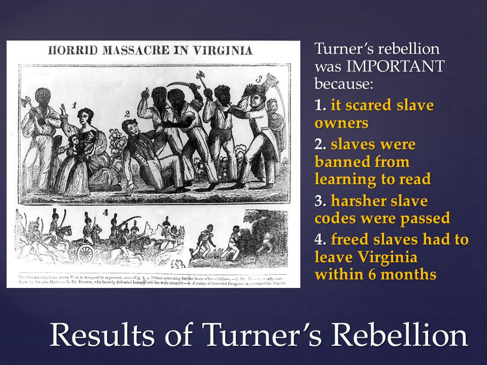 Results of Turner's Rebellion