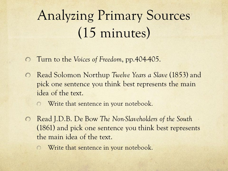 Analyzing Primary Sources (15 minutes)